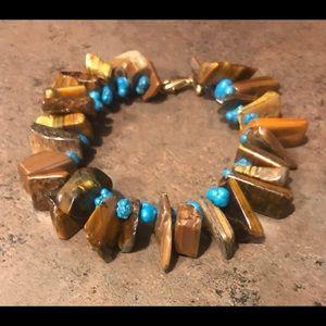 Tigereye and turquoise bracelet
